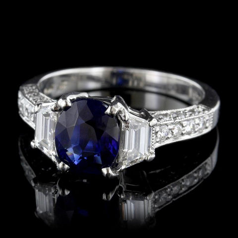 Platinum Natural Sapphire and Diamond Ring