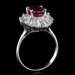 14K White Gold Estate Ruby and Diamond Ring