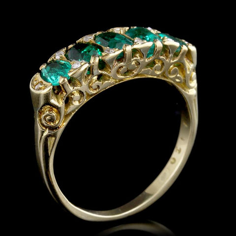Antique Victorian 18K Yellow Gold Estate Emerald and Diamond Five Stone Ring