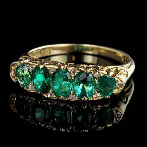 Antique Victorian 18K Yellow Gold Emerald and Diamond Five Stone Ring