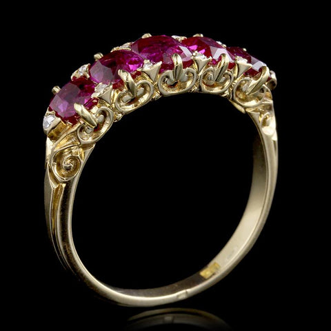 Antique Victorian 18K Yellow Gold Ruby and Diamond Five Stone Ring
