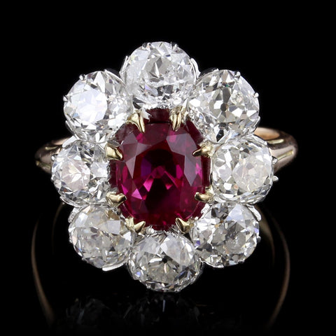 Antique 14K Yellow Gold and Platinum Ruby and Diamond Ring