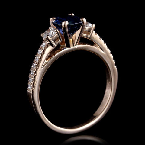14K Rose Gold Sapphire and Diamond Ring