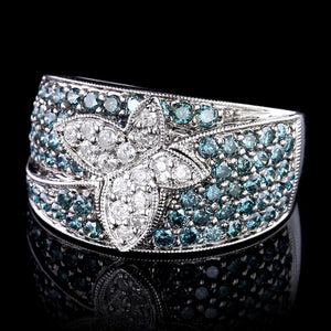 14K White Gold Estate Color Treated Blue Diamond and Diamond Butterfly Ring