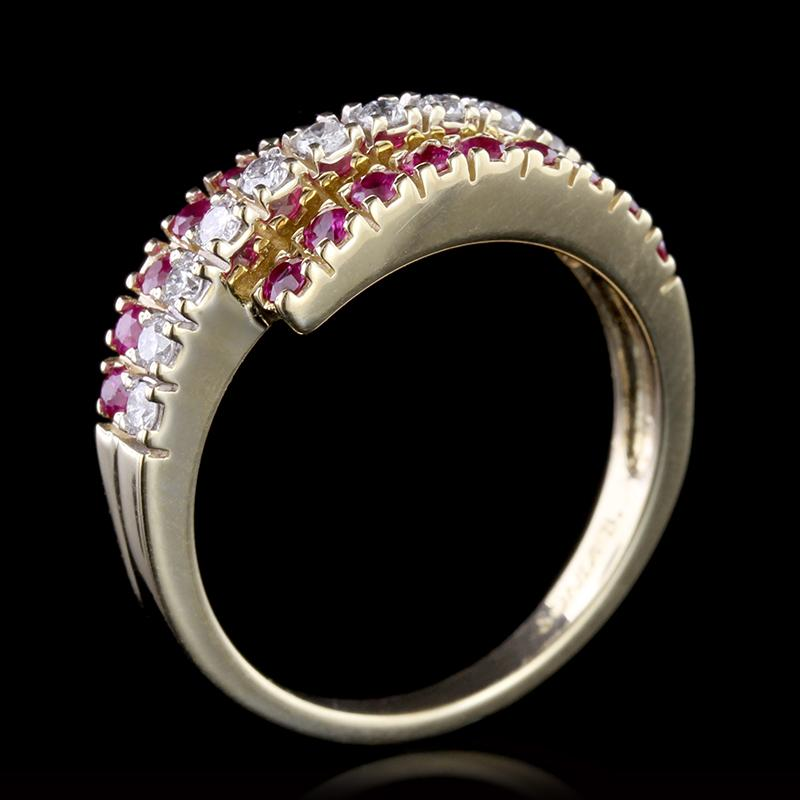 14K Yellow Gold Estate Ruby and Diamond Ring
