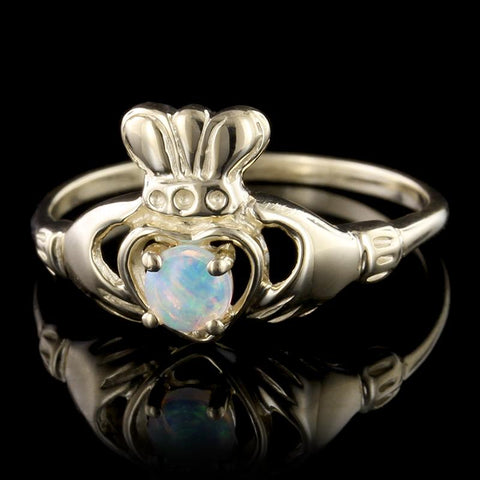 14K Yellow Gold Opal Claddagh Ring