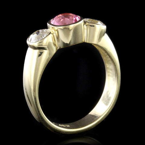18K Yellow Gold Estate Pink Tourmaline and Diamond Ring