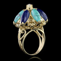 14K Yellow Gold Lapis, Turquoise and Pearl Ring