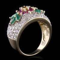 14K Yellow Gold Pink Sapphire, Emerald and Diamond Flower Ring