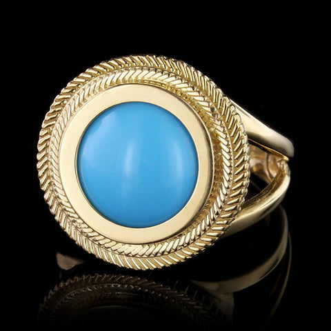 21K Yellow Gold Reconstituted Turquoise Ring