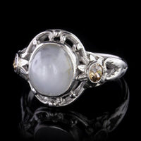 Vintage Palladium Star Sapphire and Fancy Brown Diamond Ring