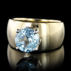 14K Yellow Gold Estate Blue Topaz Ring