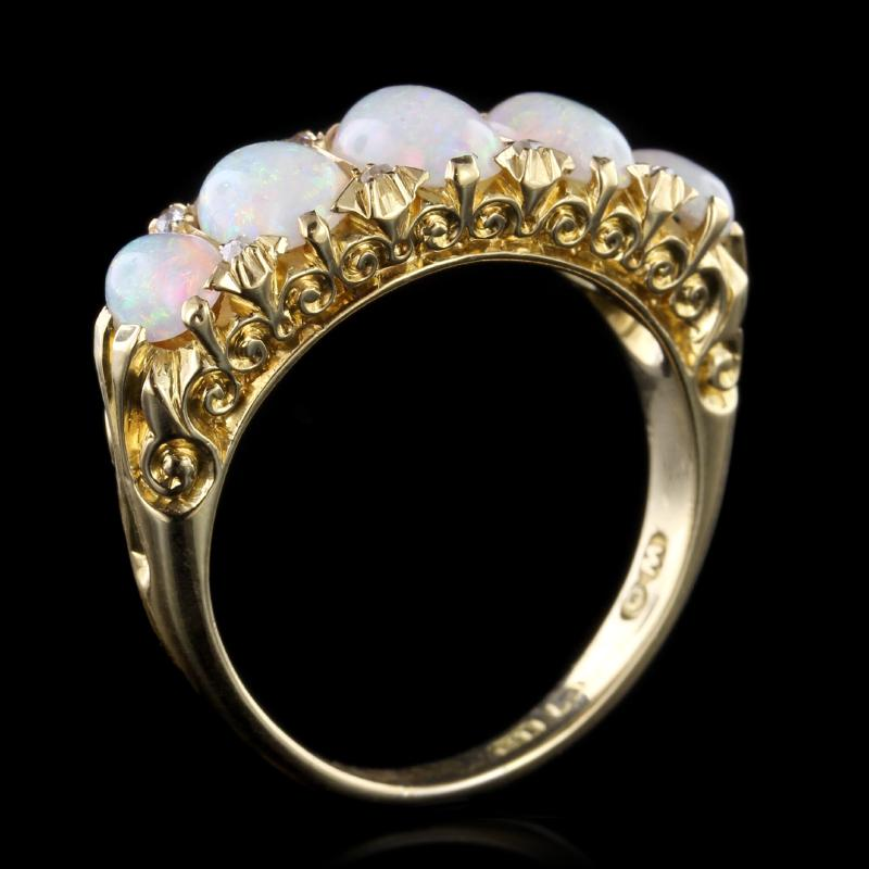 Antique Victorian 18K Yellow Gold Estate Opal and Diamond Ring