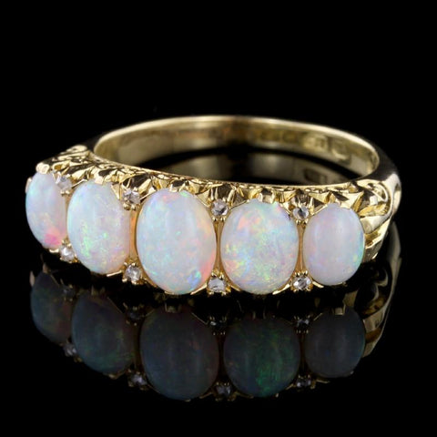 Antique Victorian 18K Yellow Gold Opal and Diamond Ring