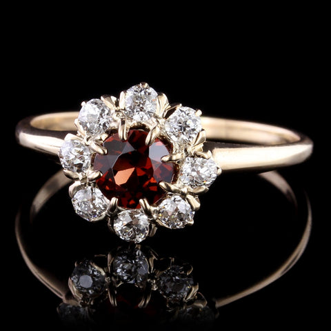 Vintage 14K Rose Gold Garnet and Diamond Ring