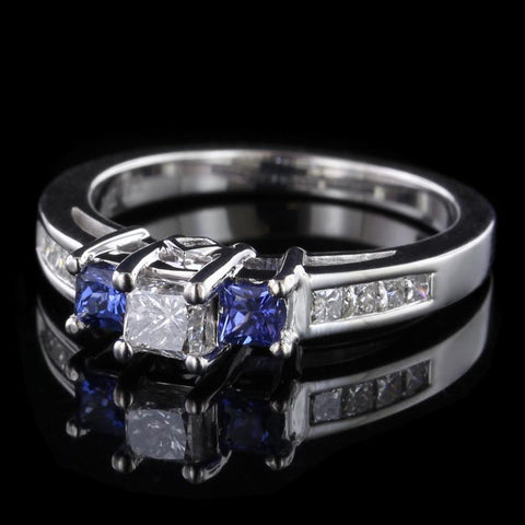 14K White Gold Estate Diamond and Tanzanite Ring