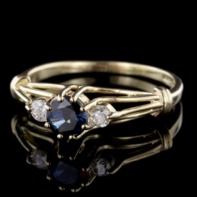 14K Yellow Gold Estate Sapphire and Diamond Three Stone Ring