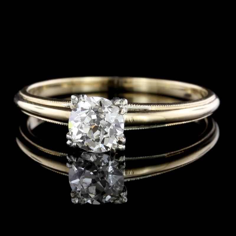Antique 14K Yellow Gold Diamond Solitaire Engagement Ring