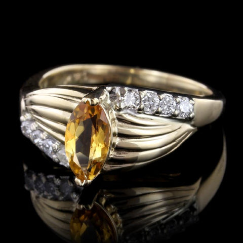 14K Yellow Gold Estate Citrine and Diamond Ring