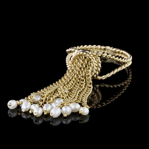 18K Yellow Gold Freshwater Pearl Tassel Ring