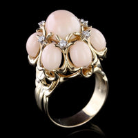 14K Yellow Gold Coral and Diamond Ring