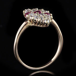 Antique 14K Rose Gold Estate Ruby and Diamond Ring