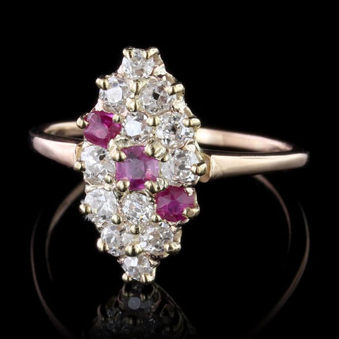 Antique 14K Rose Gold Ruby and Diamond Ring