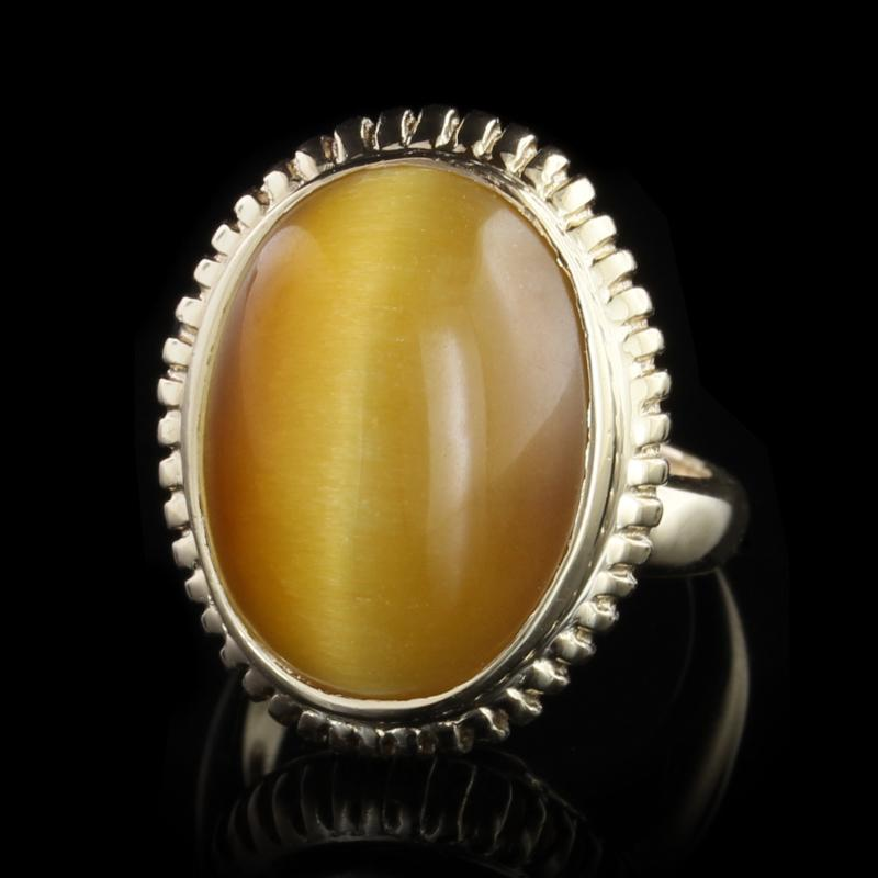 14K Yellow Gold Estate Tiger's Eye Ring