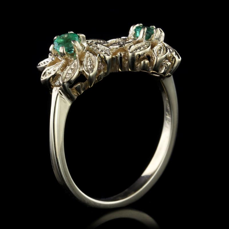 14K Yellow Gold Emerald Flower Bypass Ring