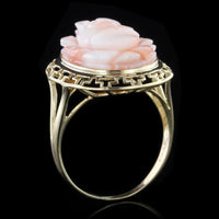 14K Yellow Gold Estate Carved Coral Flower Ring