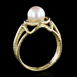 18K Yellow Gold Estate Cultured Pearl Ring
