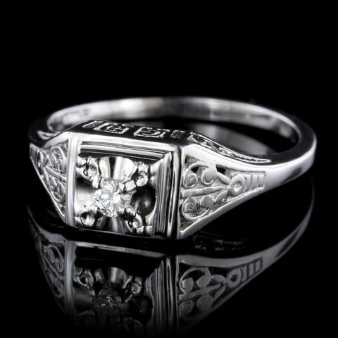 Vintage Style 14K White Gold Ring