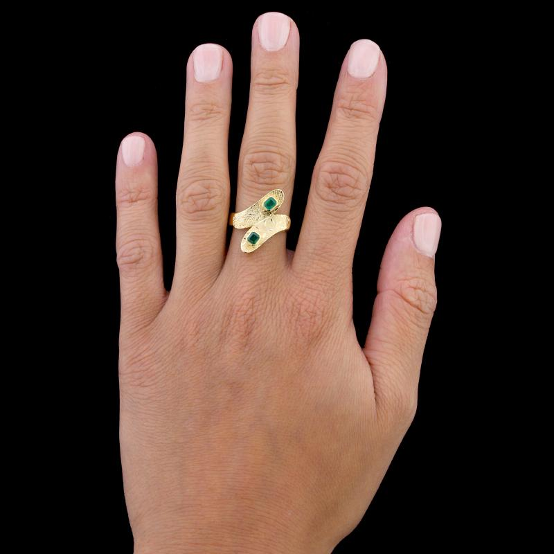 18K Yellow Gold Emerald Bypass Ring