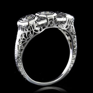 Vintage 18K White Gold Diamond Three Stone Ring