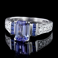 18K White Gold Tanzanite, Sapphire and Diamond Ring