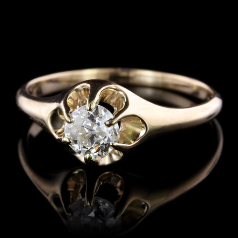 Antique 14K Yellow Gold Diamond Ring