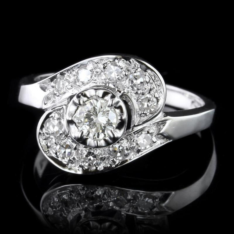 14K White Gold Estate Diamond Ring