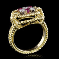 Tiffany & Co. 18K Yellow Gold Estate Ruby and Diamond Ring