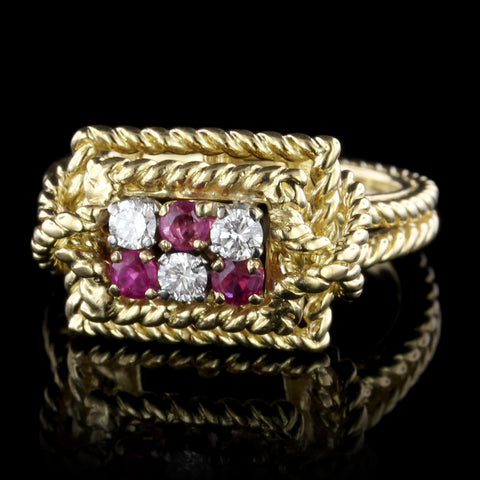 Tiffany & Co. 18K Yellow Gold Ruby and Diamond Ring