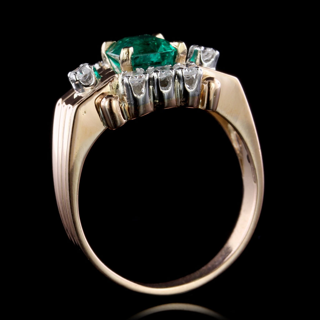 18K Rose Gold Estate Emerald and Diamond Ring