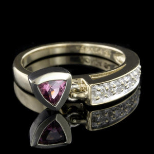 Sonia Bitton 14K Two-Tone Gold Estate Garnet and Diamond Ring