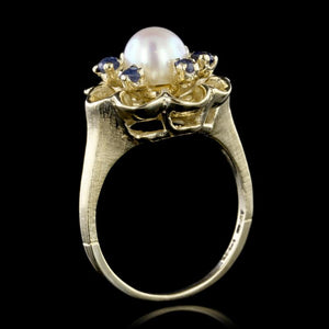 14K Yellow Gold Cultured Pearl and Sapphire Ring
