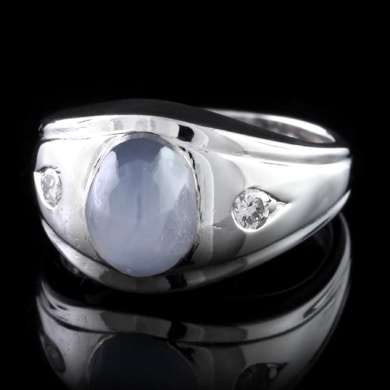 14K White Gold Estate Star Sapphire and Diamond Ring