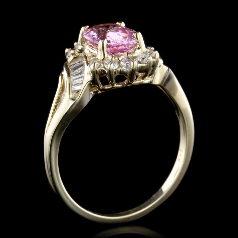 14K Yellow Gold Estate Pink Sapphire and Diamond Ring