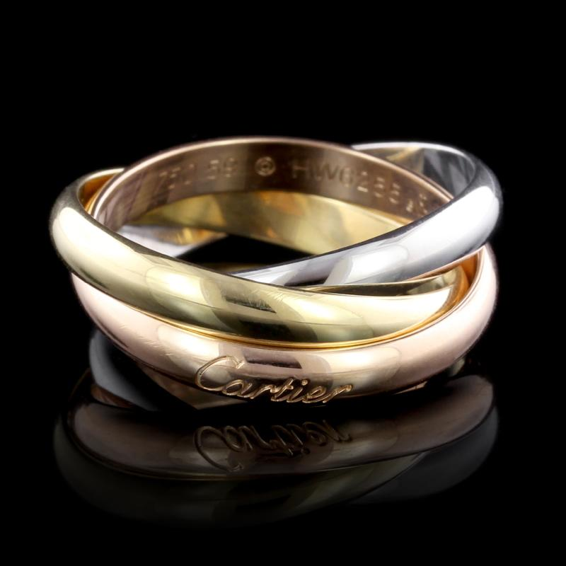 Cartier 18k Tricolor Gold Trinity Rolling Ring Long S Jewelers