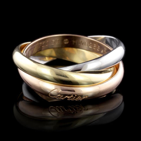 Cartier 18K Tricolor Gold Trinity Rolling Ring