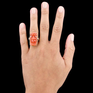 18K Yellow Gold Carved Coral Mask and Diamond Ring
