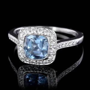 Tiffany & Co. Platinum Aquamarine and Diamond Legacy Ring