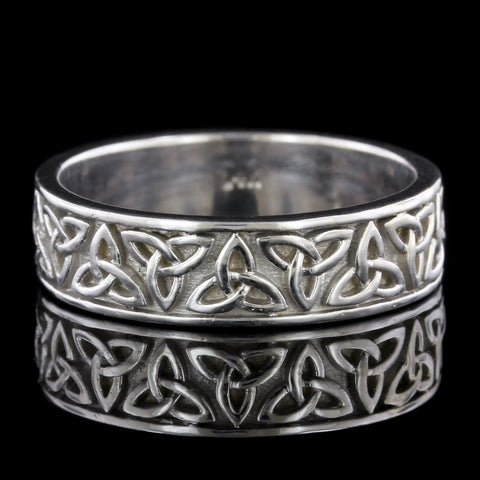14K White Gold Celtic Trinity Knot Band