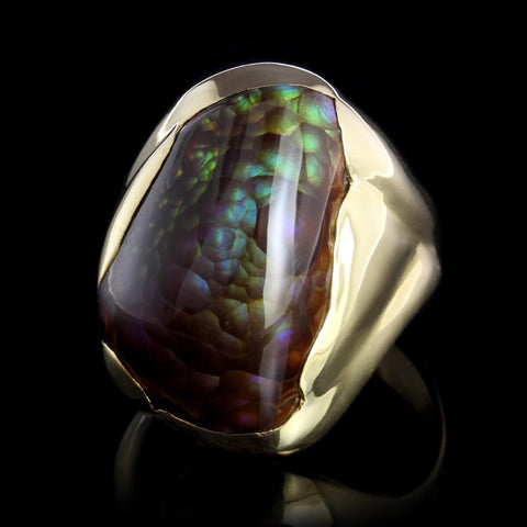 18K Yellow Gold Fire Agate Ring